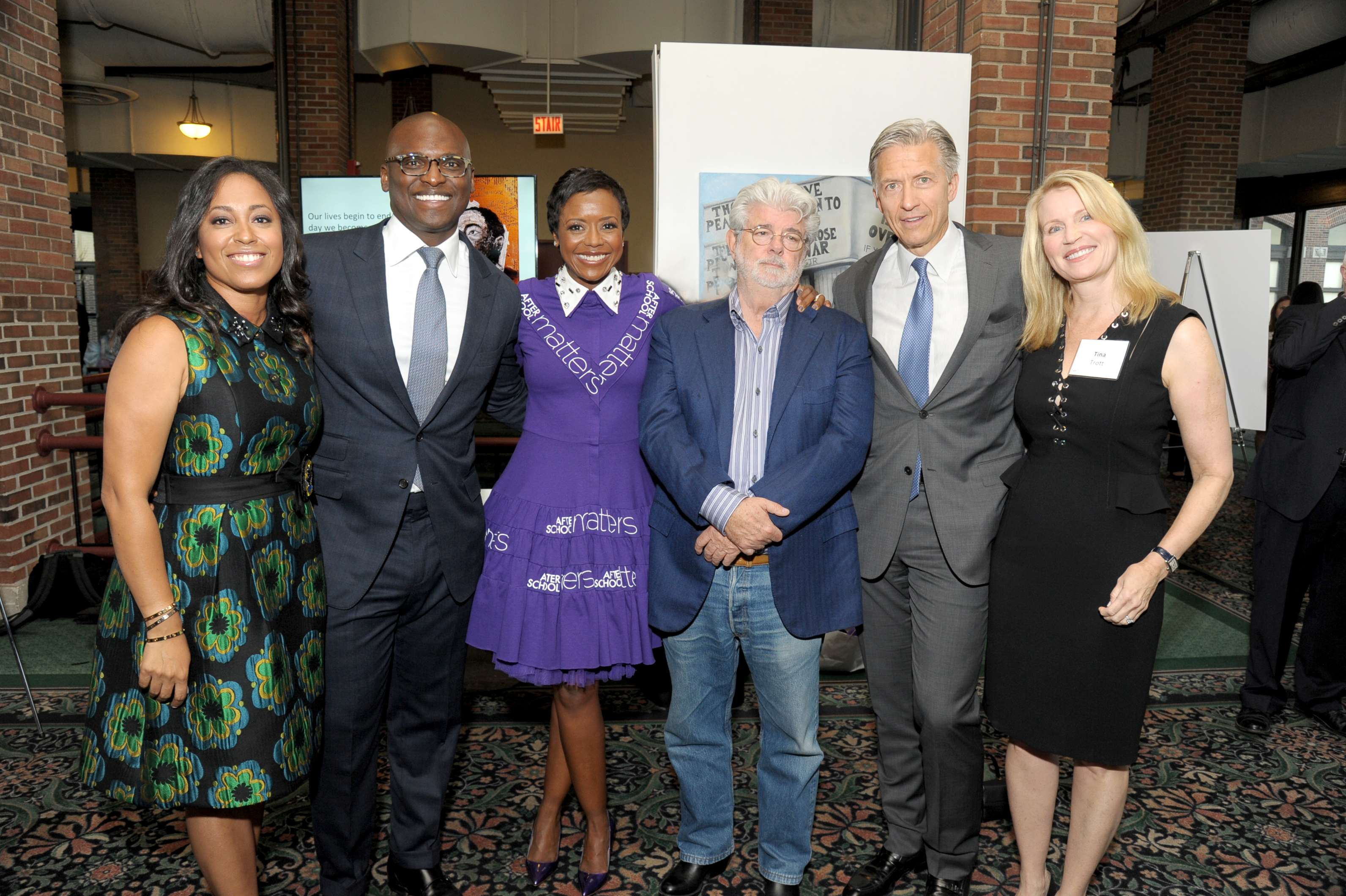 <p>After School Matters Annual Gala Chairs D'Rita and Robbie Robinson, Mellody Hobson and George Lucas, and Tina and Byron Trott at the After School Matters Annual Gala on September 21, 2015. Photo credit: Dan Rest</p>