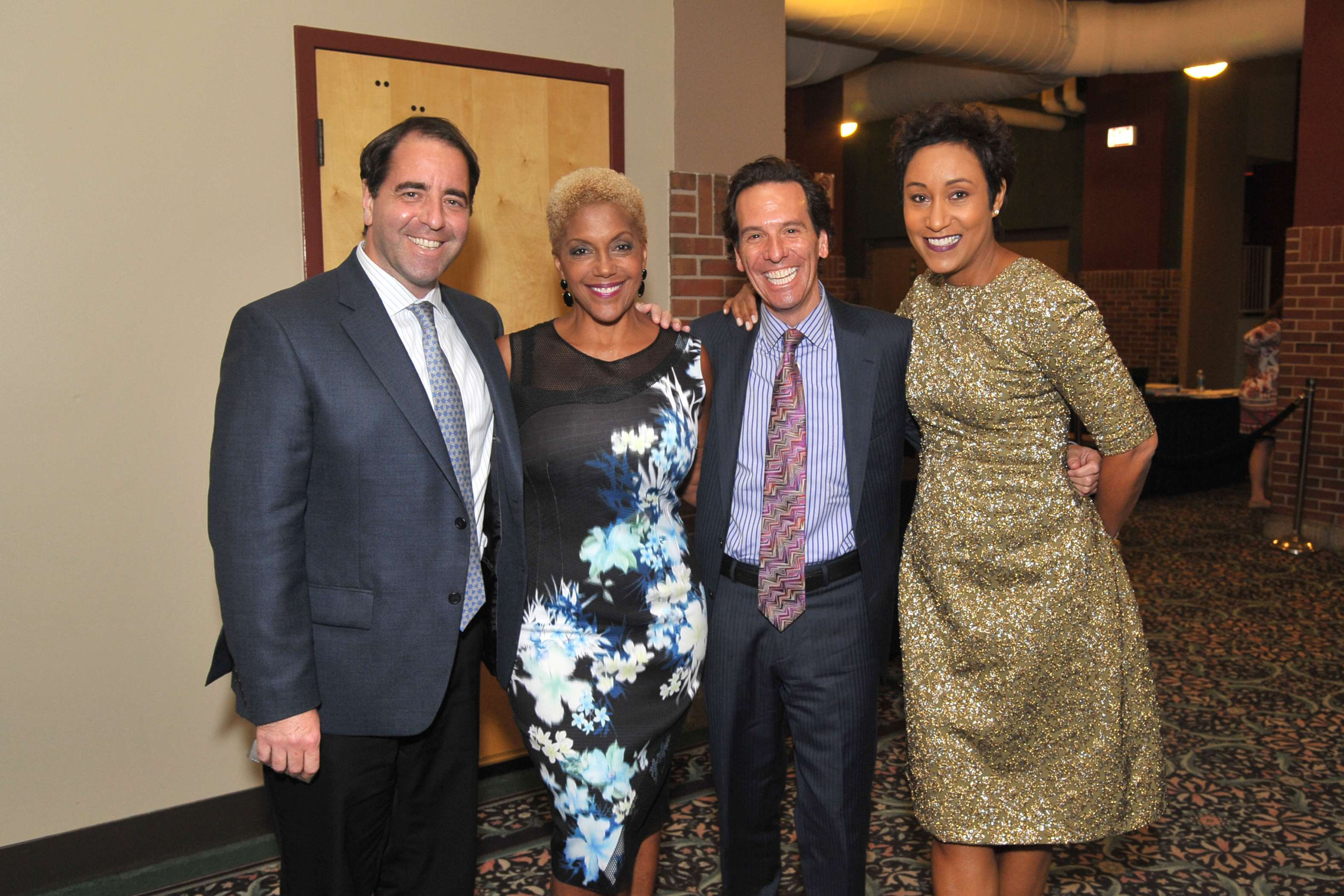 <p>After School Matters supporters Marko Iglendza (far left), Linda Johnson Rice (left center), Neal Zucker (right center), and Desirée Rogers (far right) enjoy the reception at Navy Pier for After School Matters Annual Gala on September 19, 2016. Photo credit: Dan Rest</p>