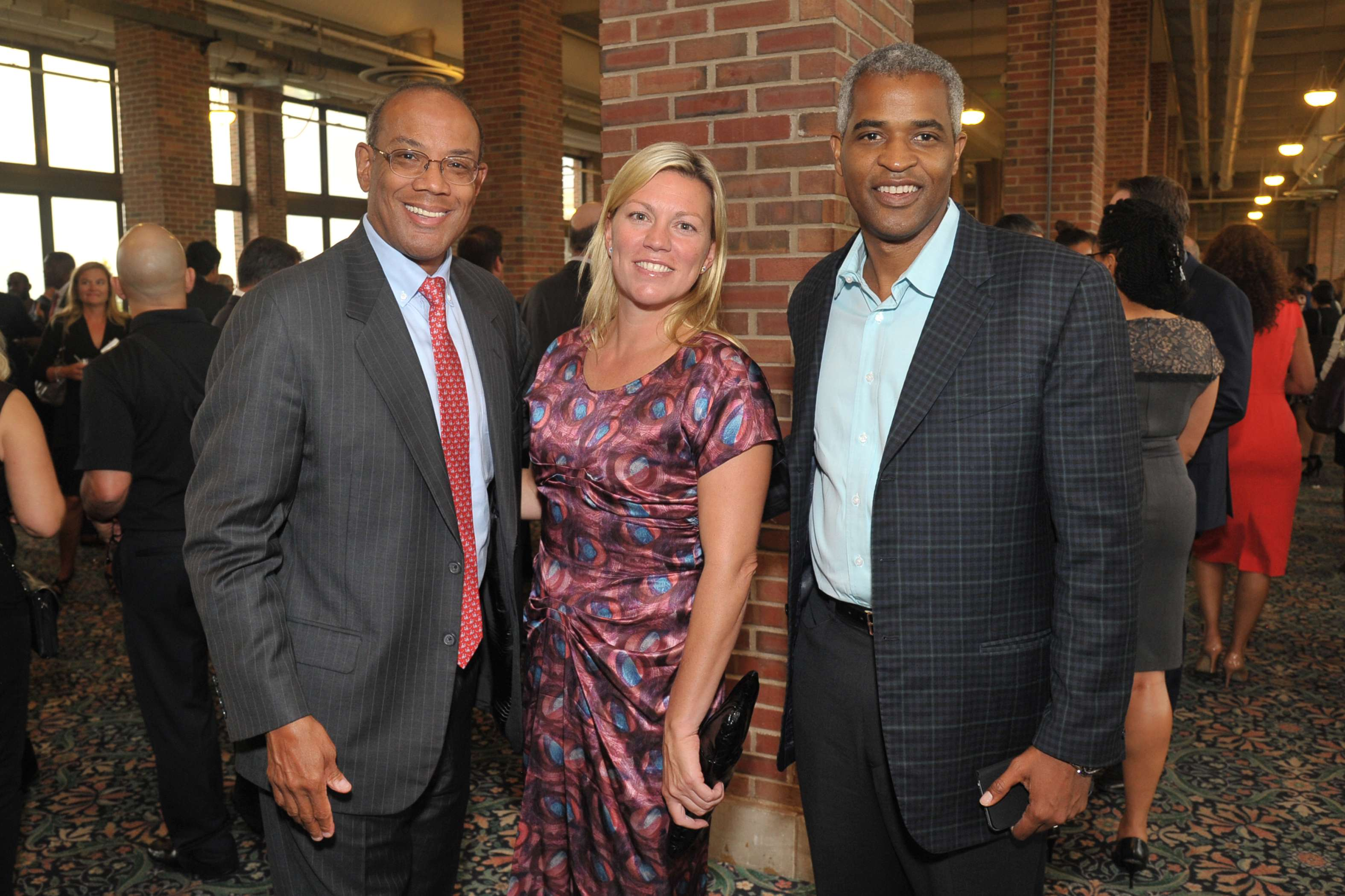 <p>After School Matters Board Member Nora Daley poses with John Rogers (left) and Martin Nesbitt (right) at the After School Matters Annual Gala on September 19, 2016 at Chicago's historic Navy Pier. Photo credit: Dan Rest</p>