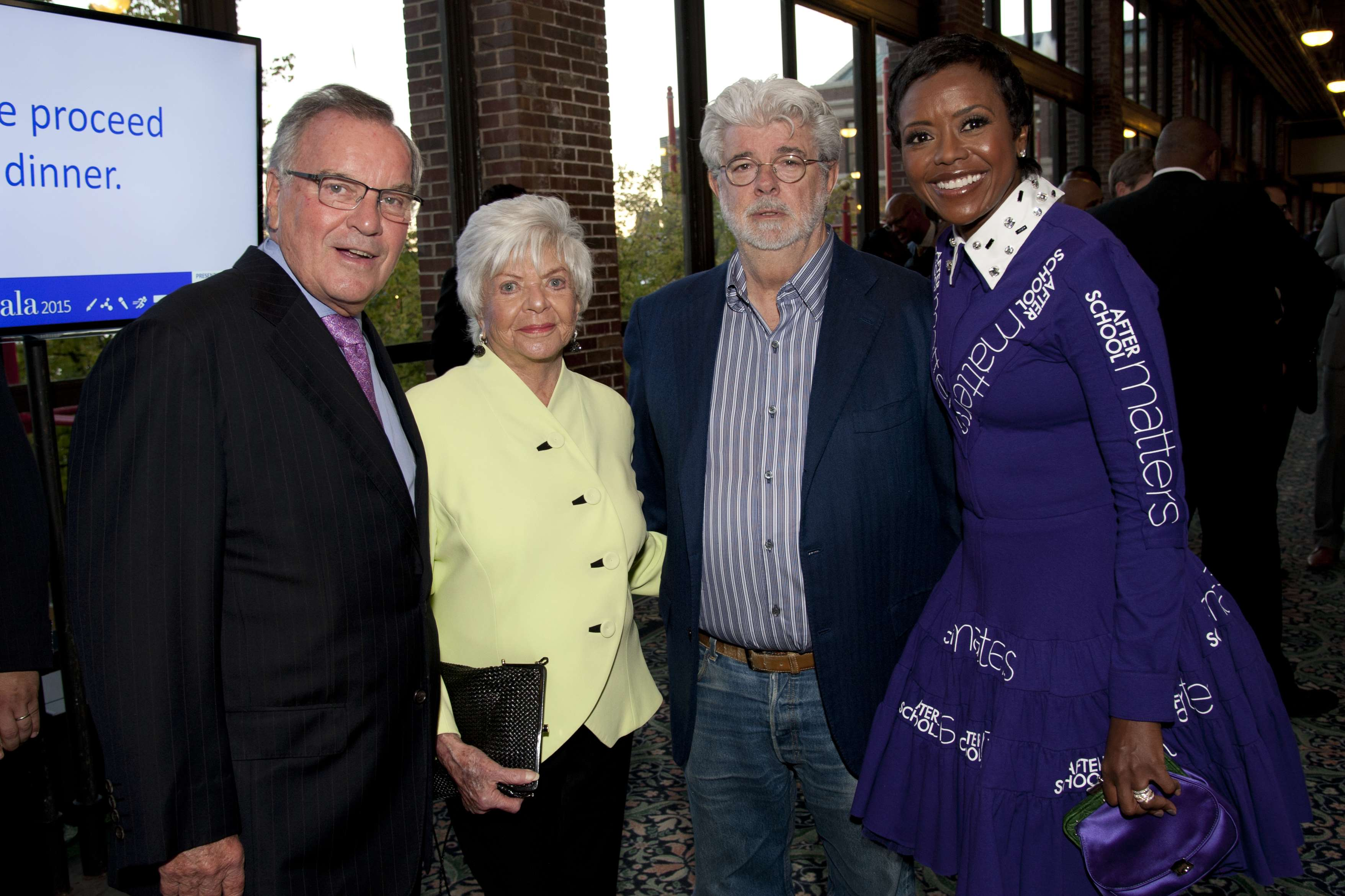 <p>Former Chicago Mayor and Honorary Gala Chair Richard M. Daley with supporter Cindy Pritzker pose alongside George Lucas and After School Matters Board Chair Mellody Hobson during the After School Matters Annual Gala at Chicago's historic Navy Pier on September 21, 2015. Photo credit: Robert Carl</p>