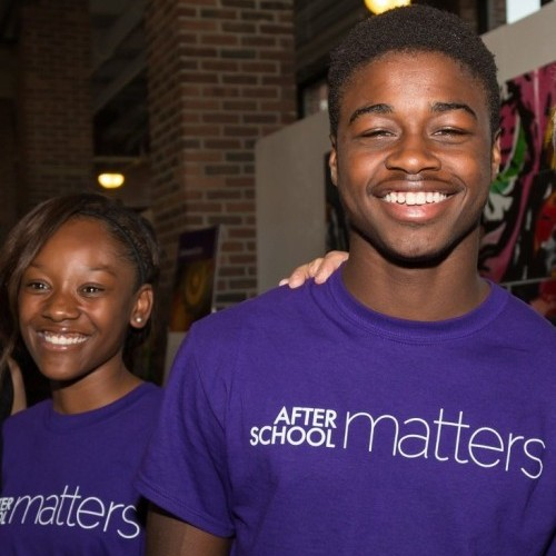After School Matters teens Donecia B.and Stephon J.at the Annual Gala on September 21, 2015.