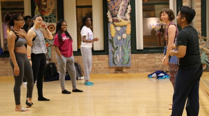 Dancers from the Lucky Plush Dance Company lead a workshop with teens in the Hi-Def Dance Ensemble program at the dance studio in Gallery 37 Center for the Arts.