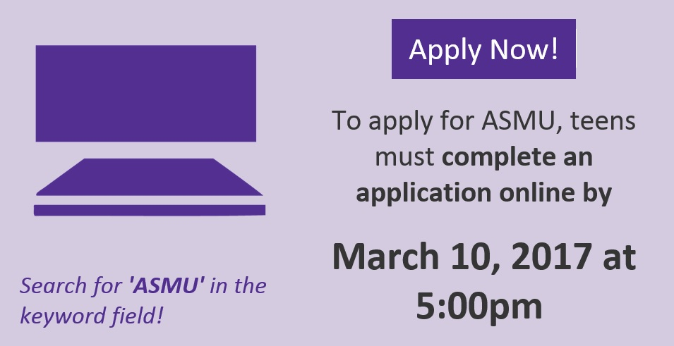 ASMU apply now 2017 light purple