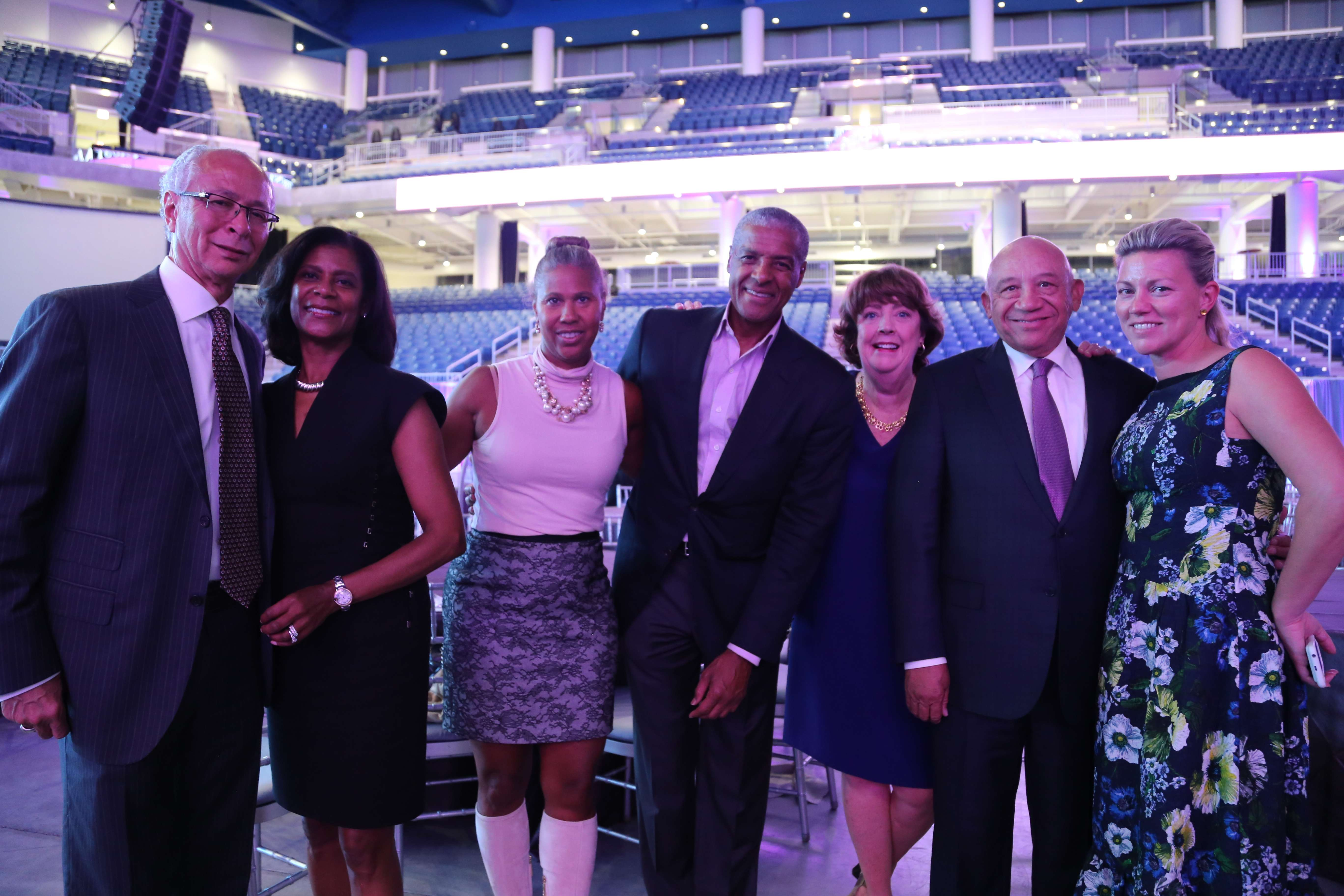 <p>Youth advocates (from left) Sam and Dona Scott, Sandy and Jim Reynolds, After School Matters CEO Mary Ellen Caron, After School Matters Board Treasurer Elzie Higginbottom and Board Secretary Nora Daley enjoyed an evening of art, exhibits and performances by Chicago's teens in the brand-new Wintrust Arena at the After School Matters Annual Gala. Photo credit: After School Matters</p>