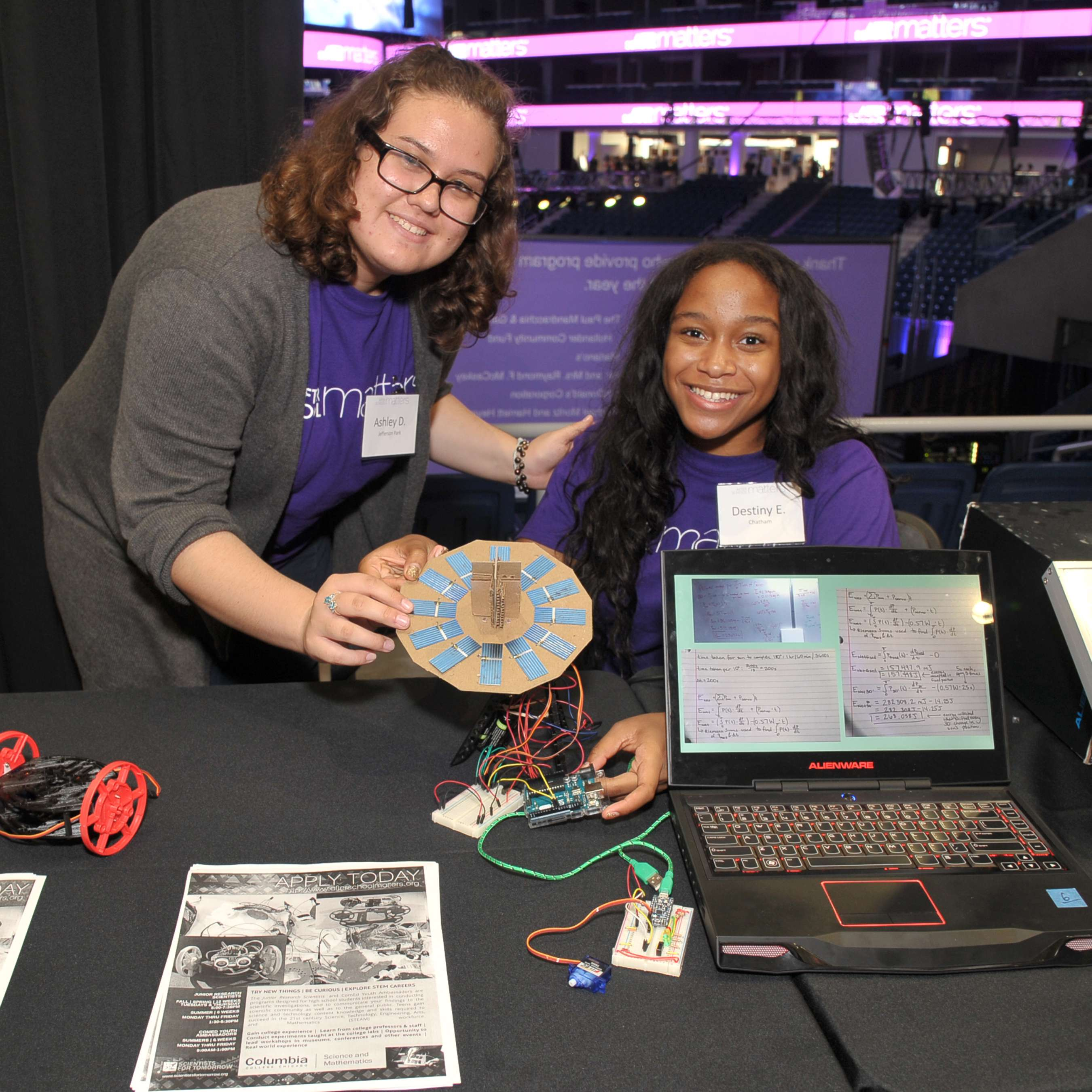 <p>Teens Ashley and Destiny show off a circuit board they created in their summer program, powered by long-time youth program supporters ComEd, during the gallery hour at the After School Matters Annual Gala on September 18, 2017. Photo credit: Dan Rest</p>