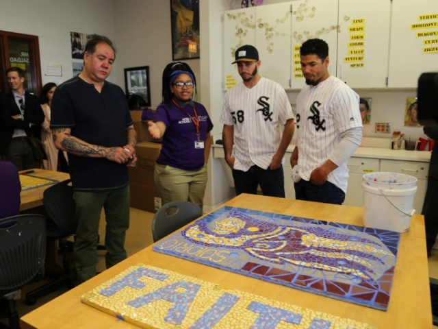 Teen SeMaya welcomes Miguel Gonzalez and Jacob May to the program and shows them examples of glass moasics they've created.