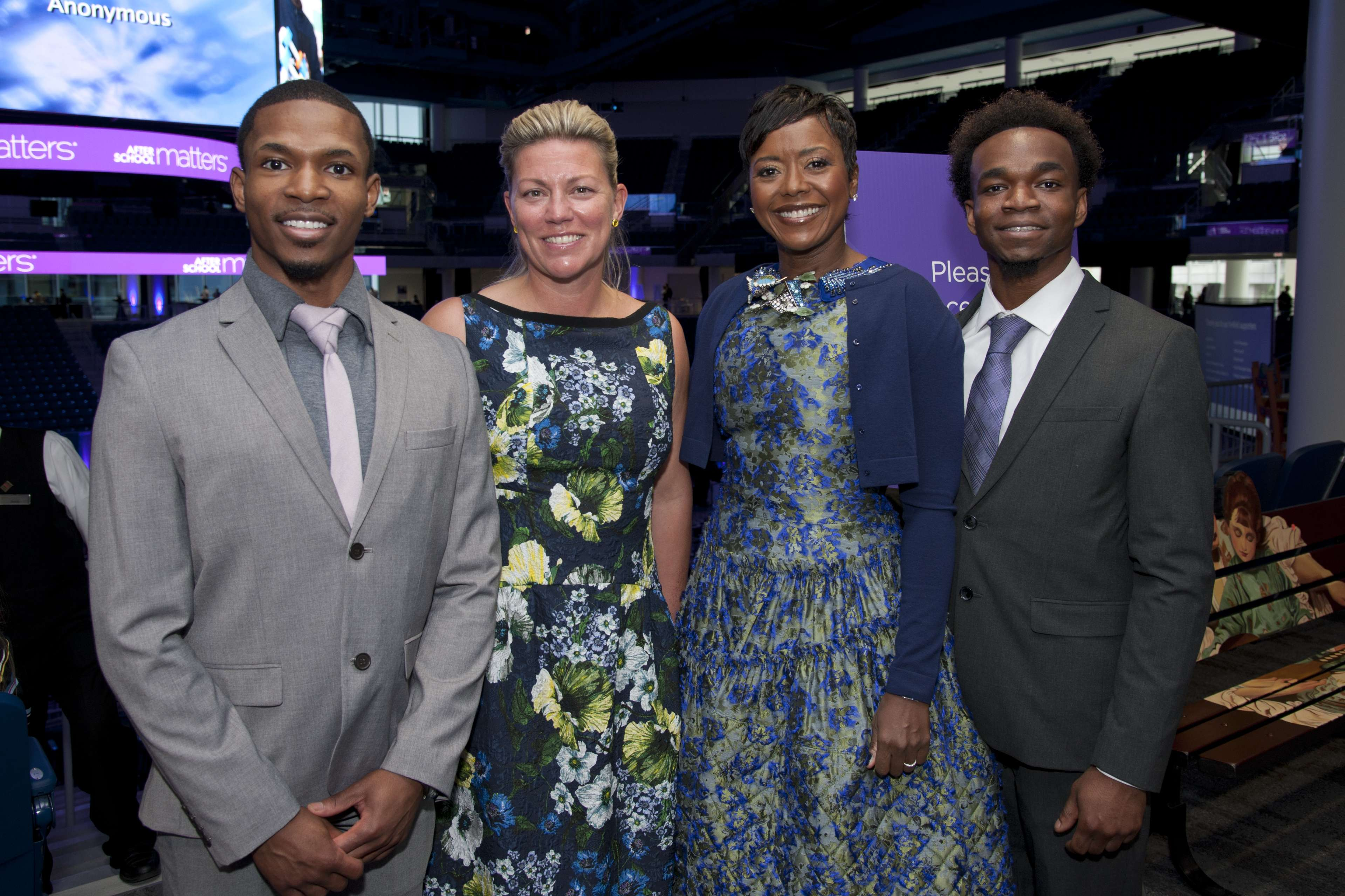 <p>After School Matters Board Chair Mellody Hobson (center right) and Board Secretary Nora Daley (center left) pose with After School Matters alumni Semaj Thomas, pastry chef at NoMi (left) and Darrius Thomas (right), student at Chicago's French Pastry School during the gallery hour of After School Matters Annual Gala on September 18, 2017. Photo credit: Robert Carl</p>