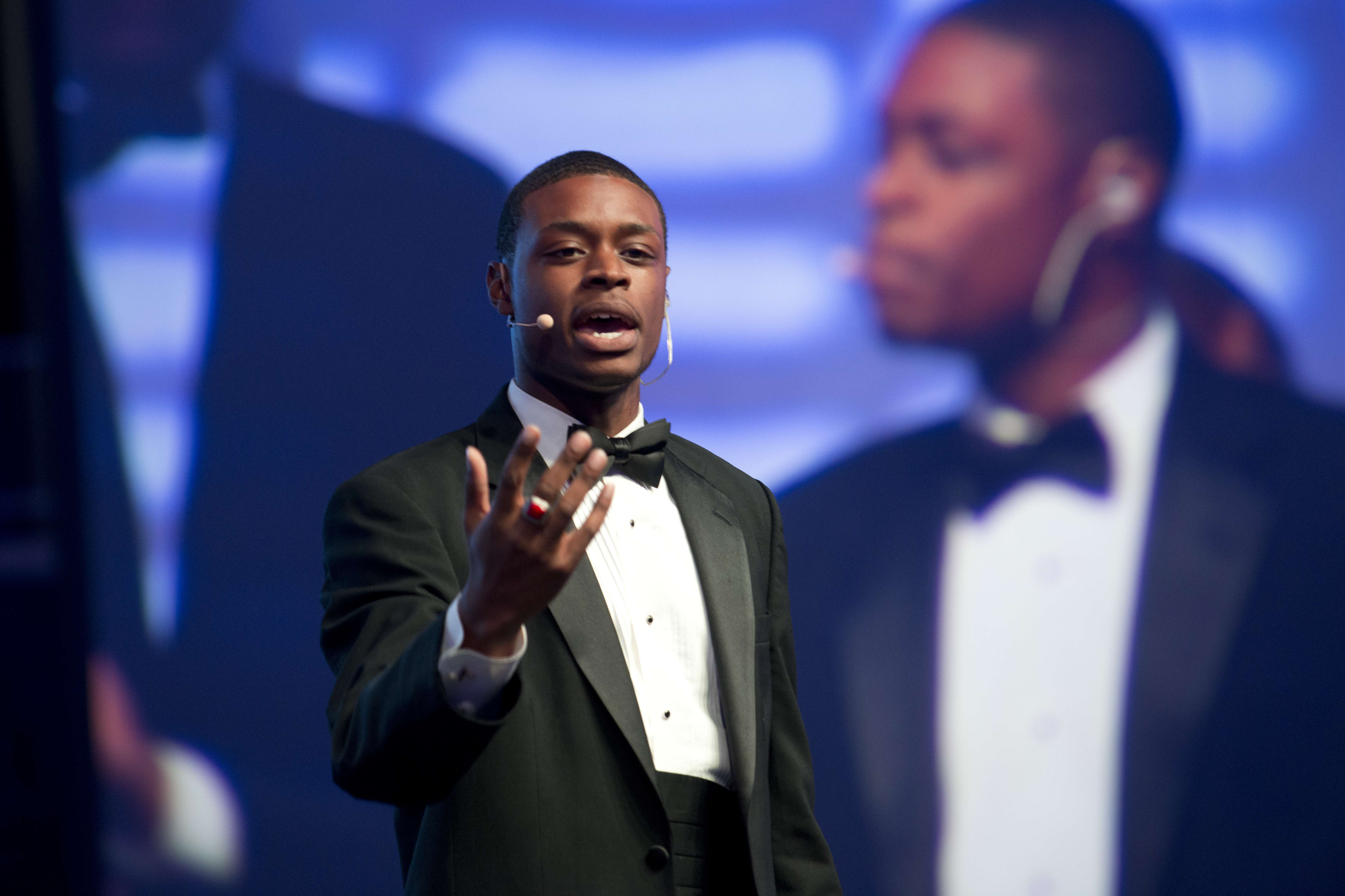 "<p>Alumnus Tanner Beck during his solo performance of ""Make Them Hear You"" from Ragtime during the After School Matters Annual Gala on September 18, 2017. Photo credit: Robert Carl</p>"